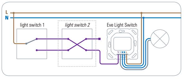 Esquema de conexión interruptor wifi conmutado - cruzamiento Alexa