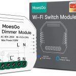 Moes Dimmer wifi compatible con Amazon Alexa, en formato mini compatible para instalarlo con los pulsadores eléctricos tradicionales