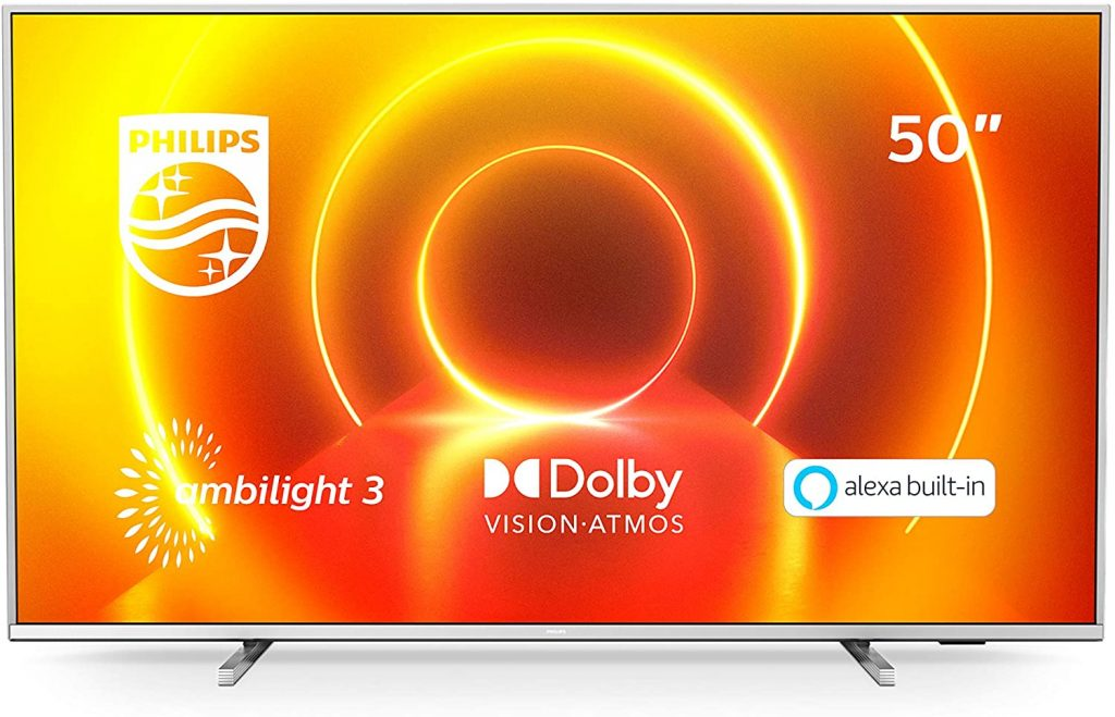 Philips 50PUS7855/12 Ambilight Televisor 4K UHD de 50 pulgadas (P5 Perfect Picture Engine, Asistente Alexa integrada, Smart TV, Función de control por voz), Color plata claro (modelo de 2020/2021)