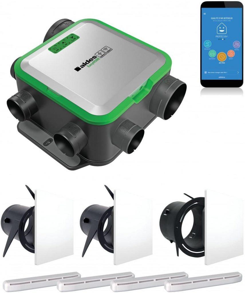 Aldes Pure Air - Purificador de aire para 3 zonas de vivienda con instalación de falso techo compatible con Amazon Alexa