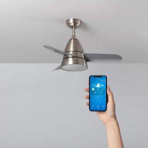 TECHBREY Ventilador de Techo Smart WiFi Industrial Plata LED CCT, compatible con Alexa.