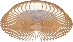 Mantra Iluminación. Modelo HIMALAYA. Ventilador y plafón de techo de 63 cm de diámetro en color madera. Compatible con Alexa